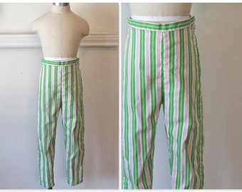 vintage 1960s little girl's pants - SPRING FEVER striped peddle pushers / 8-10yr