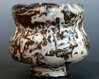 Porcelain and Brown Stoneware Japanese Style Tea Bowl Nerikomi Neriage Chawan George Watson