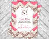 Printable bridal shower invitations - custom wedding shower invitation - chevron bridal shower invite - unique (674)