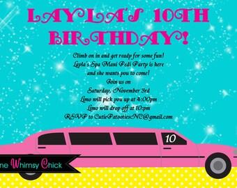 Pink Limousine Birthday Invitation, Printable Party Invite