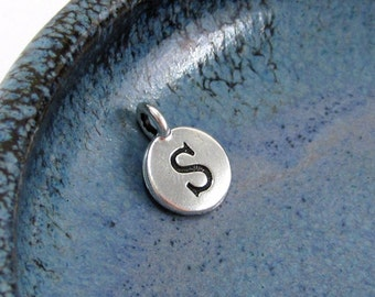 "NEW TierraCast Silver Letter ""S"" Disk Charm *YOU Collection*"