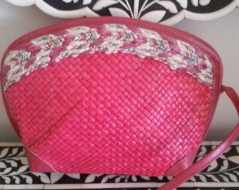 80s I. MAGNIN--Bright Pink Straw and Leather Purse--Silver and Copper Metallic Trim--Raffia Trim--Made in Italy