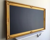 "30""x54"" Huge MAGNETIC CHALKBOARD Gold Wedding Seating Chart Narrow Dining Room Restaurant Menu Baroque Framed Chalk Board Blackboard Office"