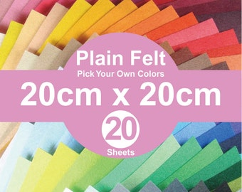 20 Plain Felt Sheets - 20cm x 20cm per sheet - Pick your own colors (A20x20)