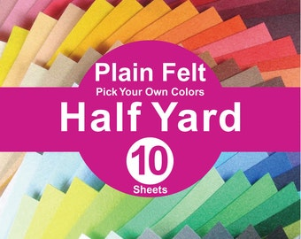 10 HALF YARD Plain Felt Fabric - pick your own color (A1/2y)