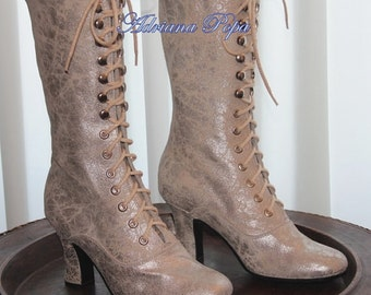 Victorian Boots in Sliver polish leather Victorian Booties Ankle Glitter leather Boots Wedding shoes