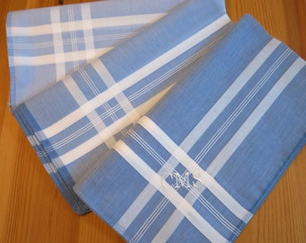 Set of 3 Assorted Color Fine Cotton Mens Handkerchiefs, Style No. 2029 with Monogram Style No. 3