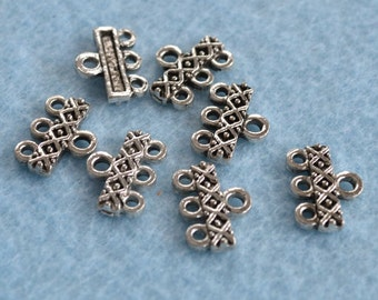 20pcs End Bar Antiqued Silver Finished  Pewter 14x3mm Rectangle With Dots X 3 Loops