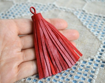 Red Nappa Leather Tassel 8.5cm Large Charms Pendant
