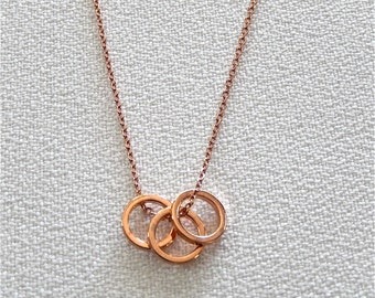 Circle Necklace, Small Necklace, Rose Gold Necklace