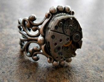 Victoriana Steampunk Ring in Silver EXCLUSIVE DESIGN