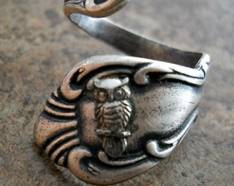 Owl Spoon Ring in Silver, Tiny Owl Spoon Ring,The ORIGINAL Exclusive Design Only by Enchanted Lockets