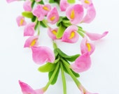 Miniature Polymer Clay Flowers for Dollhouse, Calla Lily, 3 bunches with leaves