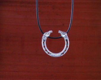 Horse Head Horseshoe Pendant Sterling Silver with Adjustable Black Cord,Equestrian Necklace,Horseshoe Jewelry