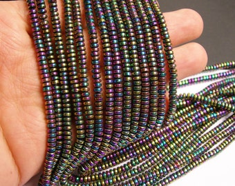 Hematite rainbow -  4mm rondelle beads - full strand - 195 beads - A quality -  PHG113