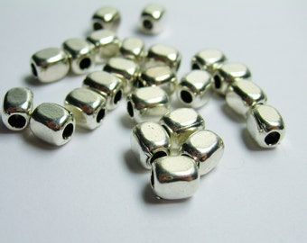 Rectangle tube beads - 24 pcs - silver puff rectangle  beads - ASA178