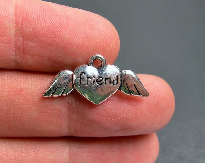 12 Friends charms - Silver tone angel heart friends charms - 12 pcs  - ASA164