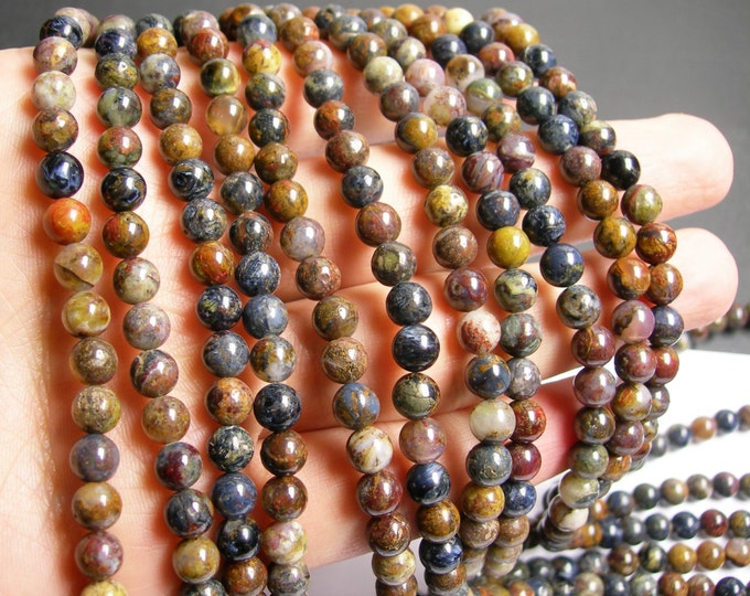 Pietersite - 6 mm round bead - A quality - 64 beads - full strand - part blue - RFG37