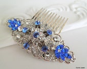 Wedding Bridal Hair Comb,Wedding Hair Comb,Rhinestone Brooch, Flower Hair Comb,Bridal Rhinestone Hair Comb,Something Blue Hair Comb,ADELIA