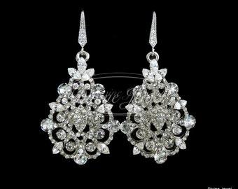 Bridal Earrings Swarovski Teardrop Crystal Earrings Chandelier Earrings Long Rhinestone Earrings Wedding Statement Bridal Earrings CAROL