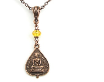 Buddha Necklace Copper Jewelry with Sunflower Yellow Crystal - Zen Buddhist Gift for Women - Meditation Jewelry Yoga Jewelry Copper Necklace
