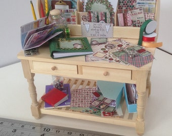 Dolls House Miniatures - 1/12th Scrapbook Craft Table