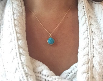 Little turquoise gold filled necklace, Bezel set turquiose teardrop pendant