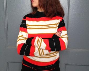 70s Neon Stripe Sweater