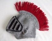 Crochet Knight Hat with fringe -Gladiator-Medieval knight helmet hat-Knight Hat with Movable and Detachable Face Mask-for fantasy