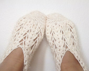 Cream women house slipper-Hand made-Winter Home Slippers-Adult size