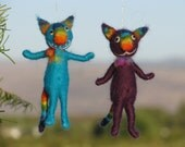 Needle felted Christmas Ornament  Rainbow Cat Waldorf inspired Home decor