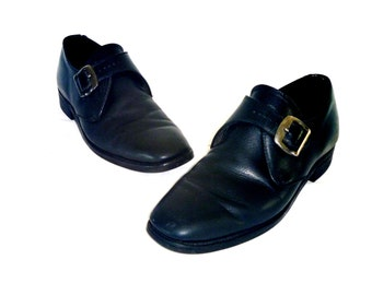 Vintage Sturdy Black Full-Grain Leather Buckle Loafers Men's Size 11