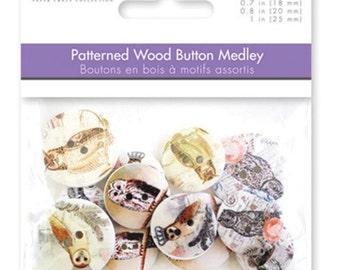 Multicraft Wood Buttons Owls Night Birds