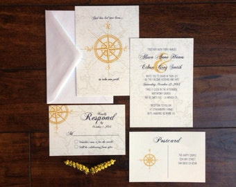 Navy and Gold Compass Travel Destination Wedding Invitation Suite