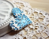 Brooch Shawl Scarf Pin / Snow Snowflakes Heart / Handmade Winter Christmas White Blue Faux Porcelain Jewelry Jewellery