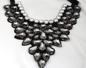 Rhinestone Bib Necklace/Smoky Gray/Clear/Holiday Jewelry/Gift For Her/Wedding Jewelry/Special Occasion/Adjustable/Under 50 USD
