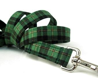 St. Patrick's Plaid Dog Leash - Irish Plaid with Black - 6 Foot Length