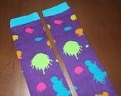 Neon Paint Splatter Toddler / Child leg Warmers - Purple Pink Blue Green Orange & Yellow