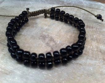 Popular BRACELET Adjustable Size. Beaded. double row. Knotted.Black. Brown. GORGEOUS. Statement Stacking Jewelry. Stylish. Youthful