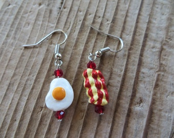 Cute Fried Egg and Bacon Hand Painted Clay and Crystal Earrings