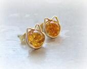 Cat Stud Earrings, Orange Cat Earrings, Amber Stud Earrings, Crackle Glass Posts, Kitty Cat Earrings,Tabby Cat Earrings, Gold Filled Stud