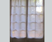 Custom White Sheer Linen Panel, Kitchen Window Curtain, French Linen Curtain, European Style