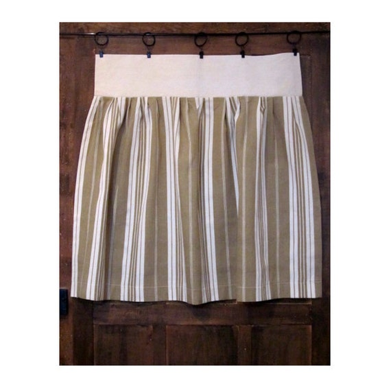 French Kitchen Curtain Ecru French Ticking Cafe By