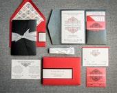 Valentine's Day Invitations, Red and Black, Winter Wedding, Black Tie Invitations, European Scroll - Pocketfold, No Layers, v1 - DEPOSIT