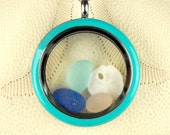Ocean Jewelry Turquoise Memory Locket GENUINE Glass Necklace And Sand Dollar RARE Eco Friendly