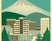 Portland OR Skyline Print, Portland Map, Portland Or Gift, Mt. Hood Skyline, Oregon Travel Art,  Portland vertical wall art, style E8-O-P1