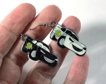 Black and White McQueen Race Car Enamel Charm Earrings - black race cars - cartoon earrings - MIX MATCH