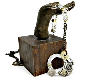 OOAK Asymmetrical Steampunk Necklace With Vintage Watch Parts, Clear Swarovski Crystals, and Antiqued Brass Chain