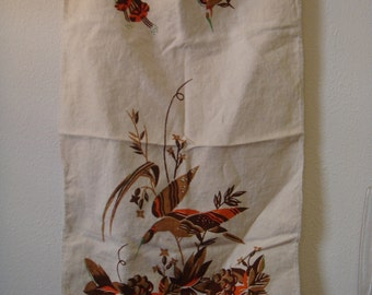 Vintage Linen Kitchen Towel Orange Hummingbird Trumpet Flowers