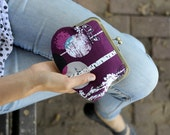 kisslock purse. clasp purse. clutch purse. secret forrest clutch purse in purple